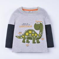 Wholesale Dinosaur Boy T Shirt - Funnygame17 NEW ARRIVAL boys Kids 100%Cotton Long Sleeve o-neck cartoon strong dinosaur print T shirt boyl spring autumn t shirt