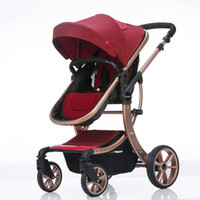 Wholesale Baby Carriage Wheels - Baby Folding Portable Stroller Baby Carriages High Landscape For Newborns Infant Four Wheels Trolley 8 Colors