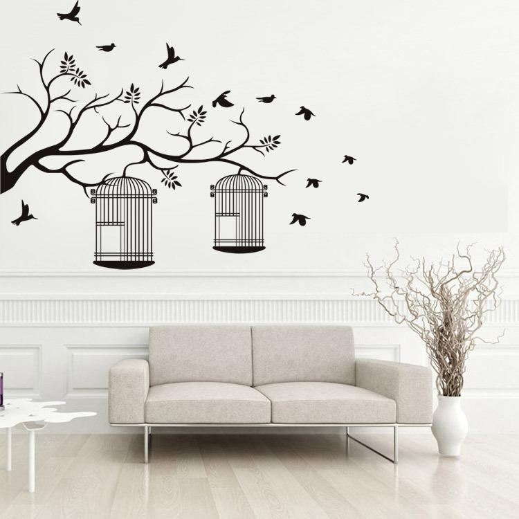 1 Bedroom Apartment Decorating Bedroom Ceiling Art Images Of Bedroom Paint Ideas Bedroom Background Cartoon: Tree Branches Birdcage Birds Wall Stickers Living Room