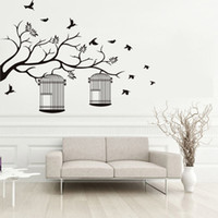Wholesale Tree Birdcages Sticker - Tree Branches Birdcage Birds Wall Stickers Living Room Bedroom Removable Background Decor Wall Decals Home Decoration Wallpaper Poster Mural