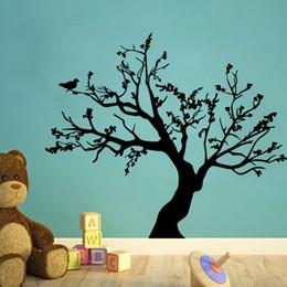 Calcomanías de pared negro para vivero online-Calcomanía de pared de árbol negro para el cuarto de niños Pegatinas de pared de árbol de PVC extraíble Hojas abstractas pájaros Mural de pared de papel cartel Aplique de pared de frontera