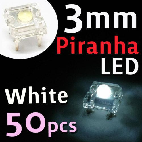 50pcs / lot süper akı 3mm Piranha LED 4000mcd