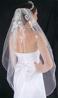 Wholesale rice pearls - Chantilly lace accented with silver embroidery and adorned with rice pearl wedding veil 001