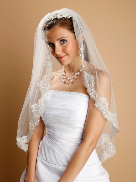 1 strato - Velo in argento a maglia con bordo smerlato Velo ricamato con perle Velo di nozze con paillettes 002