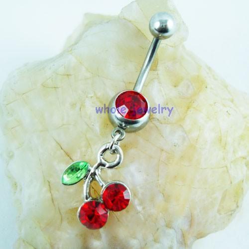 D0091 1 cor cereja cor barriga botão vermelho do umbigo Anéis Body Piercing Jóias Encantos Dangle Acessórios de Moda /  JFB-2643