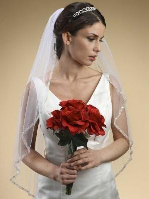 1 strato - Brilliant Strass Pearl Beaded Edge Veil velo da sposa 005