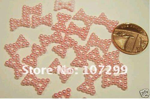 FREE SHIPPING--New Arrivals 1000Pcs Pink bow Pearl Flat back Wedding Favour Box Decor Scrapbook DIY