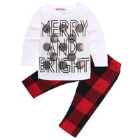 Wholesale leopard print newborn baby clothes - 2017 Newborn Kids Infant Baby Princess Girls Clothes Letter Merry and Bright Printed T-shirt Tops + infant baby Geometric Pants Outfits Set