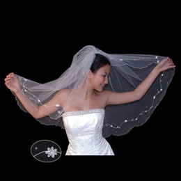 Wholesale Dotted Veil - Embroidery with pearl dots and teardrop pearls lace flowers of silver bugle beads wedding veil 028
