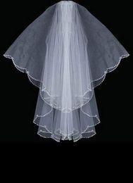 Forma oval Plata Bugle Bead Designer Edge Swaroviki Cristales Velo de novia velo de novia 037 en venta