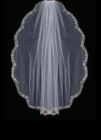 Wholesale Scalloped Edge Veil Bead - Gold Scalloped Embroidery Edge Beads Pearls Rhinestones Veil wedding veil 030