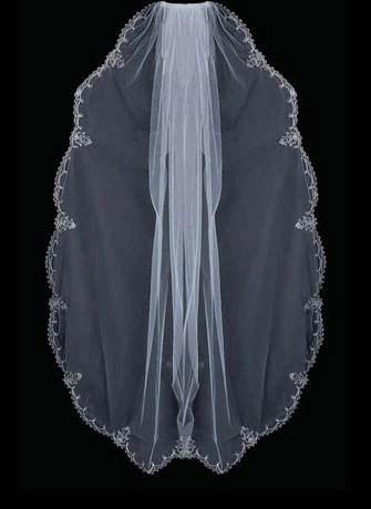 Perline bordo ricamo argento Perle goccia Strass velo da sposa 044