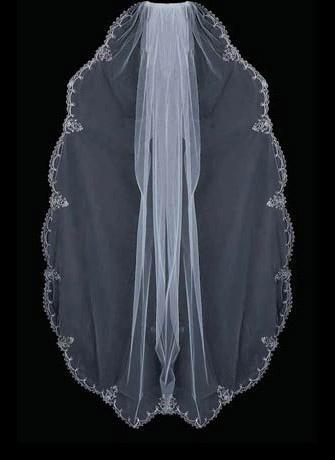 Zilveren borduurwerkrand kralen drop parels strass bruiloft sluier 044