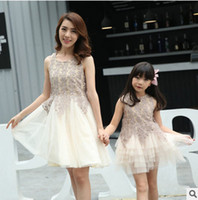 Wholesale Crochet Womens Vest - Mother and daughter clothes High quality womens girls lace Crochet Crystal princess dress womens vest tulle dress New Family dress T0176