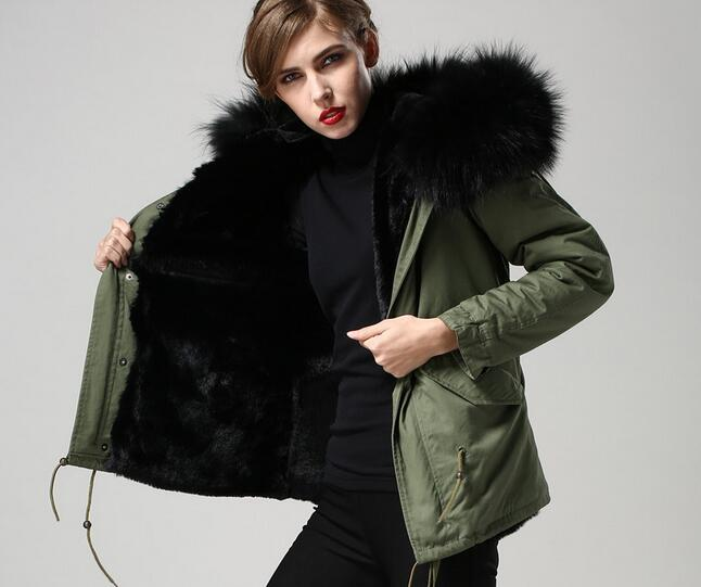 Black Fur Army Green Coats MR & MRS Itlay 100% Dye Rabbit Fur ...