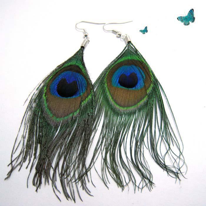 송료 무료 티베트 자연 Peacock 깃털 귀걸이 크리스마스