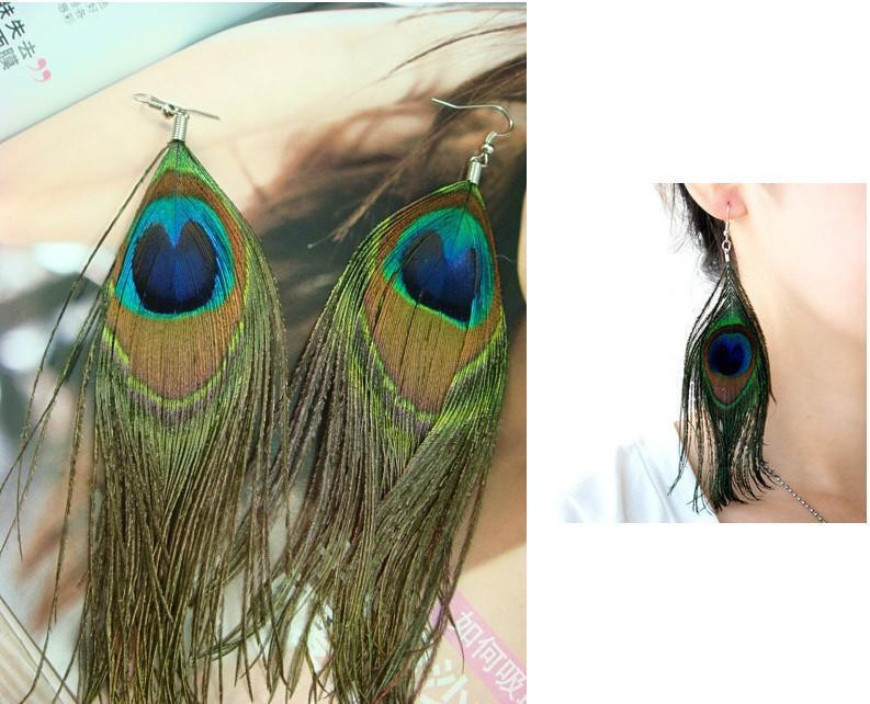 Envío gratis Tibetan Natural Peacock Feather Earring Xmas