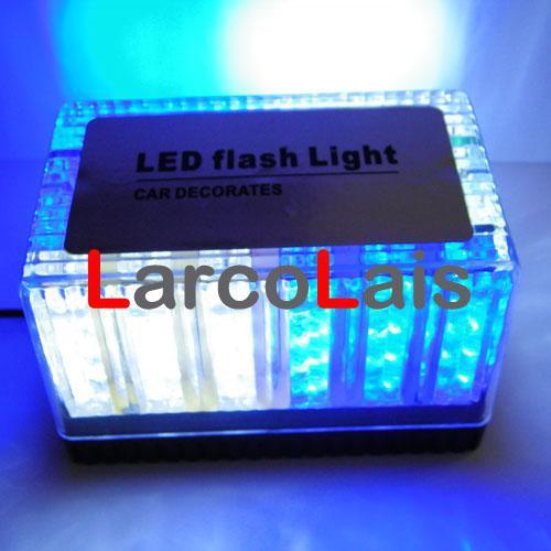 Blue White 48 LED 12V Car Roof Led Flash Strobe Light Magnets 48LED Emergency EMS Light Shell Flashing Lights