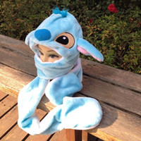Wholesale stitch dolls - Winter Kids Hats Cartoon Plush Hat Stitch Caps With Glove Blue Color Dolls Stuffed Toys Cosplay Winter Hat Cap