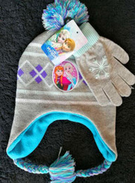 Wholesale Hat Glove One - Girls Frozen Peruvian Style Anna & Elsa Hat & Gloves Set Christmas Winter Frozen Children's Mittens