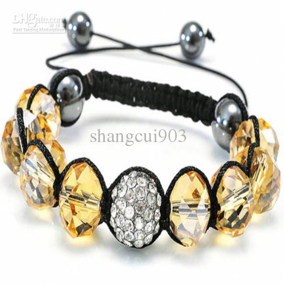 2014 neue rosa Kristall Perlen passen Mikro ebnen Disco Perlen Charms handgemachte Armband