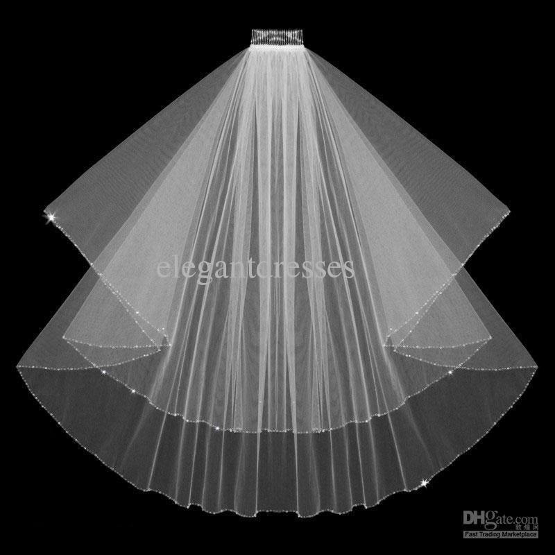 Бесплатная Доставка Горячая Продажа Тюль Белый Элегантный Свадебная Фата 046