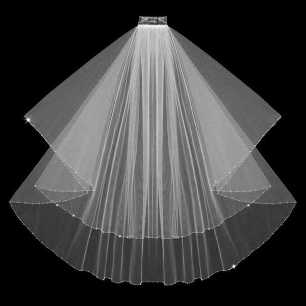 top popular Free Shipping Hot Sale Tulle White Elegant Bridal Wedding Veil 046 2019