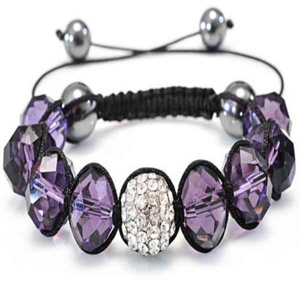 ファッションジュエリー10ピースアメジストクリスタルブレスレットフィット輝くダイヤモンドビーズブレスレット調節可能
