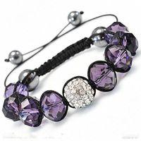 Wholesale beaded diamond bracelets - Fashion Jewelry 10pcs Amethyst Crystal Bracelet Fit Shining Diamond Bead Bracelet Adjustable