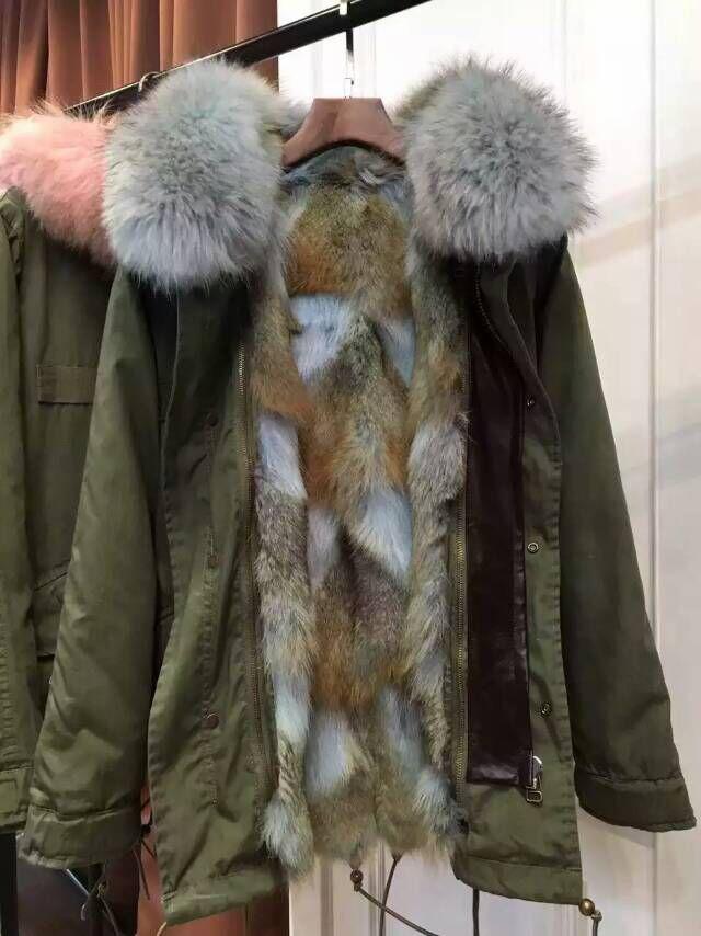 Mr Mrs Furs Parka Light Blue Fur Army Green Long Coats