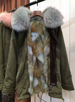 Wholesale Light Pink Wool Coat - MR MRS FURS parka Light blue fur army green long coats coyote fur & Raccoon Fur Parka from Mr & Mrs Italy