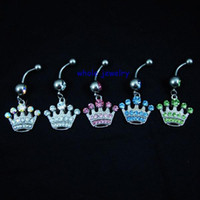 Wholesale Dangle Crown Charms - D0150 Crown style Belly Button Navel Rings Body Piercing Jewelry Dangle Accessories Fashion Charm (10PCS LOT) JFC-0627
