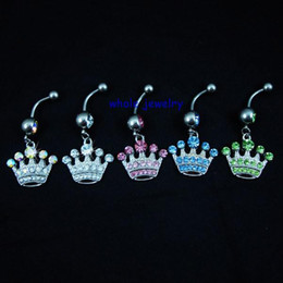 Wholesale Dangle Crown Charms - 0150 Crown style Belly Button Navel Rings Body Piercing Jewelry Dangle Accessories Fashion Charm (10PCS LOT) JFC-0627