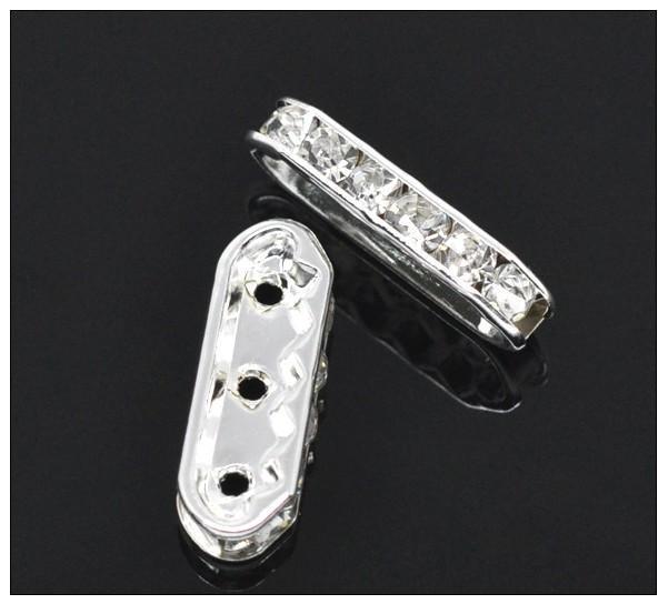 plata plateó las barras del espaciador de 3 agujeros del diamante artificial 21x7.5mm