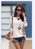 Wholesale Bat Wings Women Tops - Hot Korea Womens Fashion Bat-wing Sleeve V Neck Words Printing Tops T-shirt