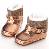 Wholesale Cute Boots For Baby Girls - Baby cute blingbling snow boots prewalkers Soft sole winter warm shoes Infants cute fashion shiny pvc splicing boots for boys girls 0-1T