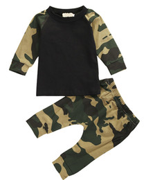 Chemises De Camouflage Pour Garçon Pas Cher-2017 INS New Camouflage Newborn Baby Boys 2PCS set Toddler Boy clothing Casual T-shirt Tops + Pants Nightwaer Long Sleeve Clothes Set 0-18M