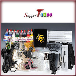 Wholesale Tattoo Starter Guns - Complete Beginner Tattoo Kit 2 Machines Guns 8 1 2oz Inks Power Supply Starter Use