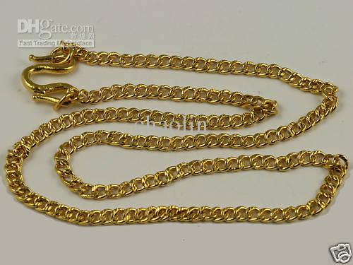 2018 24k Solid Gold Link Design Necklace Chain 298 Grams From