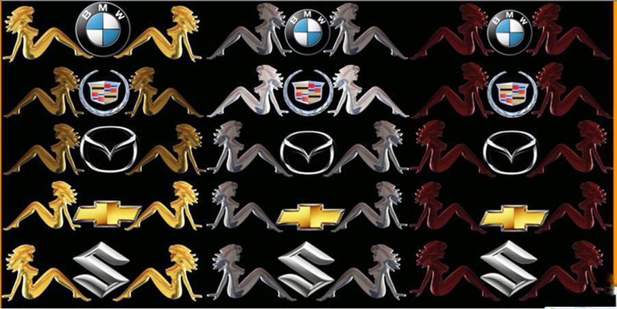 100 sztuk / partia Naklejki samochodowe dla pokojówki Soft PVC Trzy Kolory Emblemat Samochodowy Eadge Zabawne Naklejki Zderzakowe