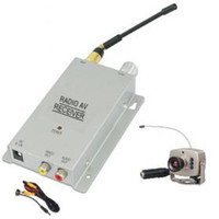 Wireless Mini aguarela / micro CCTV vigilância de segurança A / V de áudio 6 IR LED RC Camera receiver kit.1pc