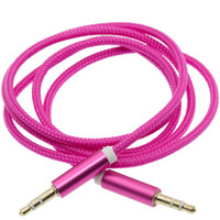 Wholesale Up Stereo Speakers - 1M 3FT Braided AUX Audio Cable Woven Fabric 3.5mm Metal Head Cord Male To Male Stereo Extension Line For Car Phone Speaker 120pcs up