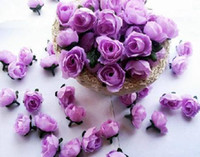 Wholesale Silk Rosebuds - 500pcs lot Artificial Silk Simulation Rose Rosebud Flower Head Camellia Flowers With Leaves Wedding & Christmas 6 Colours 3cm