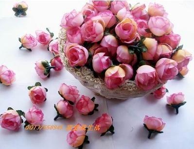 / 인공 실크 시뮬레이션 로즈 로즈 버드 꽃 머리 카멜리아 꽃 잎 결혼식 크리스마스 6 색 3cm
