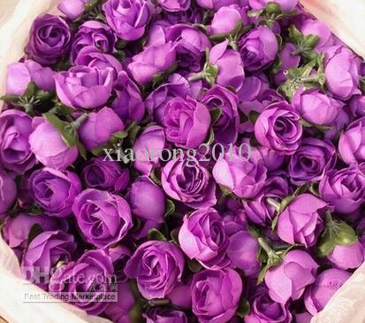 500 sztuk / partia Sztuczna Symulacja Jedwabna Róża Rosebud Kwiat Głowy Kamelia Kwiaty Z Liśćmi Ślub Boże Narodzenie 6 Kolory 3cm
