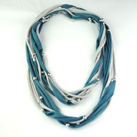 Wholesale Embellished Scarf Necklace - scarf necklace | fashion winter beads handmade jewelry scarf necklace scarves shaw for women , NL-1492F