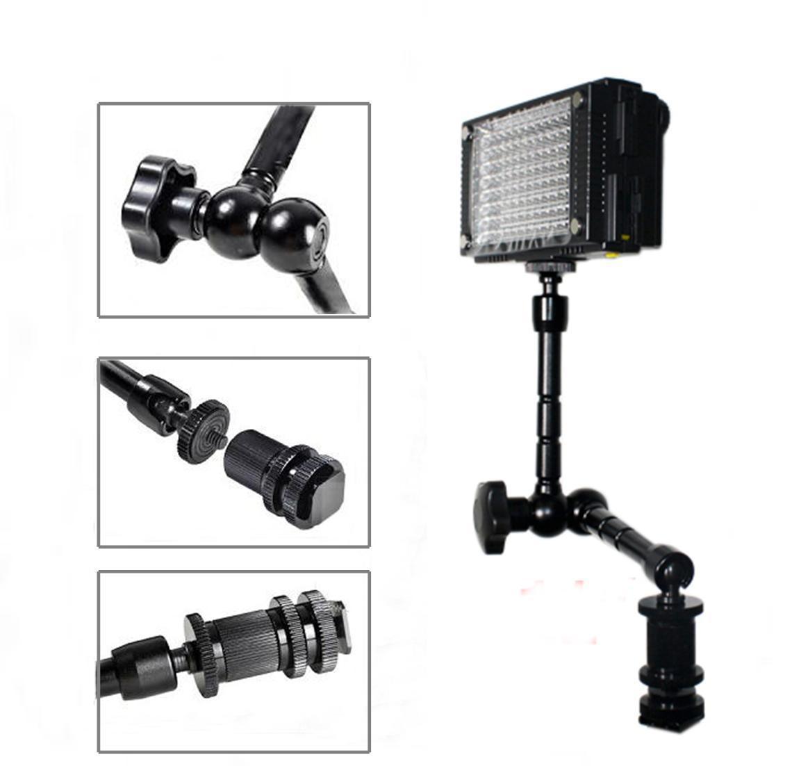 DSLR Rig Articulating Magic Arm 11 '' för DSLR-kamera LED Light LCD Field Monitor Aluminium Matieral