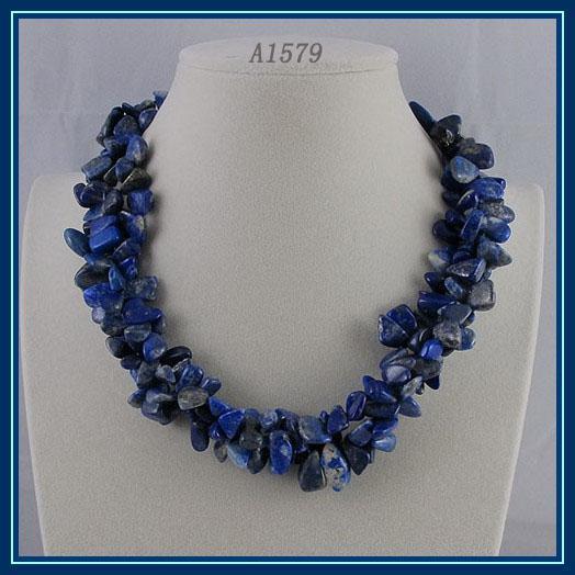 Wholesaleハンドメイドラピスネックレス3ローズ美しい青いラピスネックレスホットセール送料無料A1579