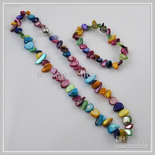 Großhandelsmischungen färben natürlicher Schalenhalsketten-Armbandschmucksachesatz heißer Verkauf freies Verschiffen A1582
