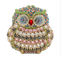 Wholesale Owl Cell Phone Bag - 2016 Owl luxury handmade diamond-studded evening dinner bag full of high-end foreign trade crystal hand-held evening bag